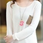 (Pre-Order) เสื้อไหมพรมถักจากผ้าฝ้ายผสมขนสัตว์ แฟชั่นเสื้อสไตล์เกาหลี สีขาว