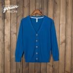Pre-Order เสื้อสเวตเตอร์ถัก เสื้อคาร์ดิแกน ผ้าฝ้าย คอวี กระดุมหน้า สีฟ้าน้ำทะเล