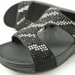 รองเท้า Fitflob Flare Slide Con สวมเพชรกระจายลาย สีดำ No.FF037