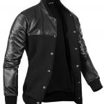 Pre-Order เสื้อแจ็คเก็ตหนัง คอจีน ทูโทน แขนยาว สีดำ