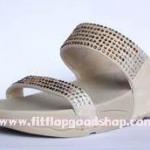 รองเท้า Fitflob Flare Slide สวม 2 สายเพชรกระจาย สีครีม No.FF028