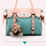 พรีออเดอร์ กระเป๋าแฟชั่นเกาหลี 2014 กระเป๋าถือผู้หญิง กระเป๋าสะพาย กระเป๋าหิ้ว มีฝาปิดด้านบน สีฟ้า