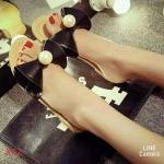 รองเท้าแตะนำเข้า แบบน่ารักมากประดับด้วยโบว์ใหญ่แต่งมุก ใส่สวยมากๆ