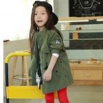 เสื้อโค้ทตัวยาวสีเขียวทหารสุดเทห์ แฟชั่นเด็กยอดฮิต