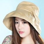 Pre-order หมวกผ้าฝ้ายปีกกว้างติดโบว์ แฟชั่นฤดูร้อน กันแดด กันแสงยูวี สีกากี โทนสีพาสเทลมาแรงในปีนี้