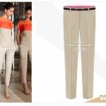 (Pre-Order) กางเกงผู้หญิงทำงานแฟชั่น กางเกงขายาว ทรงขาตรง หรือทรงกระบอกเล็ก ผ้าชีฟองหนาปานกลาง สีครีม