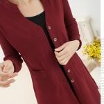 (Pre-Order) เสื้อไหมพรมถักจากผ้าขนสัตว์แคชเมียร์ แฟชั่นเสื้อสไตล์เกาหลี สีไวน์แดง