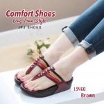 รองเท้าเพื่อสุขภาพแบบหนีบ วัสดุหนัง Pu นุ่มๆ ที่เล่นสี 4 เส้นเรียงตัวสวยทำให้ดูสีสันสดใส พื้น Soft Comfort