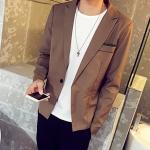 Pre-Order เสื้อสูทผู้ชาย แขนยาวผ้าฝ้ายผสม มีกระเป๋าเจาะที่อกซ้าย ติดกระดุมเม็ดเดียว แต่งริมกระเป๋าผ้าลายจุด แฟชั่นสูทสไตล์เกาหลี สีน้ำตาล