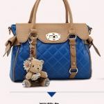 พรีออเดอร์ กระเป๋าแฟชั่นเกาหลี 2014 กระเป๋าถือผู้หญิง กระเป๋าสะพาย กระเป๋าหิ้ว มีฝาปิดด้านบน สีน้ำเงิน
