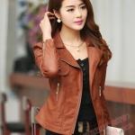 พร้อมส่ง เสื้อแจ็คเก็ตหนัง เสื้อแจ็คเก็ตผู้หญิง เข้ารูปพอดีตัว คอปก สีน้ำตาล แต่งซิปเก๋ แฟชั่นเกาหลี สำเนา