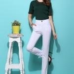 Pre-Order กางเกงขายาวผู้หญิงทำงานผ้ายืด เอวสูง ขาตรงกระบอกเล็ก ผ้าฝ้ายผสมสแปนเด็กซ์ กางเกงแฟชั่นเกาหลี สีขาว