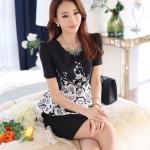 พรีออเดอร์ ชุดเดรสทำงานเข้ารูป สีดำ พิมพ์ลายดอกไม้สีขาวที่เสื้อ กระโปรงดำ แฟชั่นเกาหลีสวย ๆ สำเนา