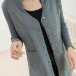 (Pre-Order) เสื้อไหมพรมถักจากผ้าขนสัตว์แคชเมียร์ แฟชั่นเสื้อสไตล์เกาหลี สีเทา