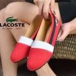 รองเท้าคัชชูสไตล์แบรนด์ Lacoste วัสดุทำจากผ้ายีนส์ด้านหน้าตรงขอบรองเท้าเป็ยผ้ายางยืด
