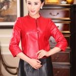 พรีออเดอร์ เสื้อสูทผู้หญิง เสื้อสูทผู้หญิงหนังแท้ เสื้อโค๊ทหนัง สูทหนัง สูทหนังแกะ แฟชั่นเสื้อหนัง คอจีน สีแดง