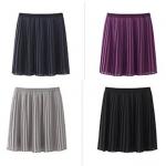 (Pre-order) กระโปรงพลีทสั้นเหนือเข่า ผ้าชีฟอง 4 สี คือ สีกรมท่า สีดำ สีม่วง สีเทา