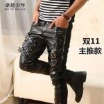(Pre-order) กางเกงหนัง ขายาว หนังพียู คุณภาพดี รุ่น 6030