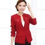 Pre-Order เสื้อสูททำงานแขนยาว เสื้อสูทผู้หญิง สูทลำลอง สีไวน์แดง แฟชั่นชุดทำงานสไตล์เกาหลี