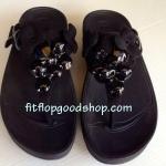 รองเท้า Fitflob Fleur Urban Black  ดอกไม้ 5 ดอก หนังแก้ว/หนังกลับ สีดำำ No.FF254
