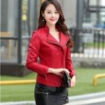(Pre-order) เสื้อแจ็คเก็ตหนังแท้ เสื้อหนัง เสื้อโค๊ทหนัง เสื้อหนังแกะ แฟชั่นเสื้อหนัง สีแดง