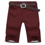 Pre-order กางเกงขาสั้น กางเกงลำลองฤดูร้อน แฟชั่นกางเกงขาสั้นสำหรับหนุ่ม ๆ สีไวน์แดง