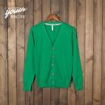 Pre-Order เสื้อสเวตเตอร์ถัก เสื้อคาร์ดิแกน ผ้าฝ้าย คอวี กระดุมหน้า สีเขียวนกแก้ว