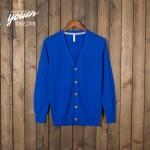 Pre-Order เสื้อสเวตเตอร์ถัก เสื้อคาร์ดิแกน ผ้าฝ้าย คอวี กระดุมหน้า สีฟ้านกยูง