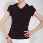 Pre-Order เสื้อแขนสั้น คอปก ผ้าโพลีเอสเตอร์ สีดำลายจุดแดง สไตล์สาวสวิส แฟชั่นมาใหม่ปี 2014