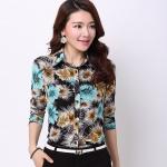 Pre-order เสื้อเชิ้ตผ้าฝ้าย แขนยาว เสื้อทำงาน พิมพ์ลายดอกไม้สีฟ้า-ดำ แฟชั่นสไตล์เกาหลี