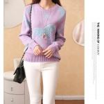 (Pre-order) เสื้อสเว็ตเตอร์ เสื้อถักไหมพรม กันหนาว ปักรูปม้าน่ารัก ๆ สีม่วงอ่อน