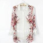 (Pre-Order) เสื้อเชิ้ต แขนยาว ผ้าชีฟอง พิมพ์ลายดอกไม้ สไตล์วินเทจ สีขาว