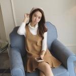 เดรสอินโดลลา 2016 ในช่วงฤดูหนาวผู้หญิงเกาหลีใหม่ลายสก๊อตพัดลม V คอทำด้วยผ้าขนสัตว์แขนกุดแต่งกายผู้หญิง flouncing 0900