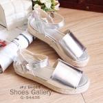 รองเท้าแตะรัดข้อสไตล์แบรนด์ Nanda วัสดุหนังพียูแบบนิ่ม พื้นรองเท้าถักด้วยเชือกปอสองชั้น พื้นสูง 1 นื้ว