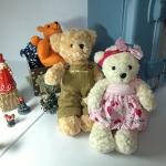 ตุ๊กตาหมีคู่ ใส่ชุดสีชมพู+ชุดเอี๊ยม size M