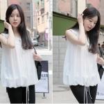 (Pre-Order) เสื้อชีฟองแขนกุด สีขาว แฟชั่นวัยรุ่นมาใหม่ ปี 2014