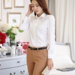 (Pre-Order) เสื้อชีฟองประดับลูกไม้ เสื้อทำงานแขนยาว แฟชั่นเกาหลี สีขาว