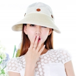 Pre-order หมวกแฟชั่น หมวกแก็ปปีกกว้าง หมวกฤดูร้อน กันแดด กันแสงยูวี สีกากีขาว
