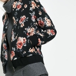พรีออเดอร์ เสื้อแจ็คเก็ตแฟชั่น ผ้าพิมพ์ลายดอกไม้ สีแดงดำ