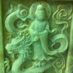 ภาพเจ้าแม่กวนอิมแกะสลักจากหินหยก ปางประทานพร ขนาด สูง 80 เซนติเมตร กว้าง 80 เซนติเมตร