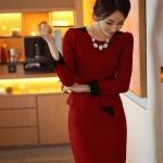 Pre-Order ชุดเดรสผู้หญิงทำงาน ชุดกระโปรงสั้น เสื้อคอกลม แขนยาว แต่งระบายด้านหน้า แฟชั่นเสื้อผ้าเกาหลี สีเเดง