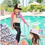ชุดว่ายน้ำเด็กหญิง เสื้อแขนยาวสีชมพู กระโปรงกางเกงขายาว ไซส์ L