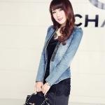พรีออเดอร์ เสื้อสูทแฟชั่นเกาหลี 2014 เสื้อสูทผู้หญิงผ้ายีนส์ ประดับเพชรที่ปกเสื้อ แขนยาว