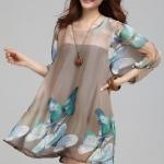 (Pre-Order) เดรสผ้าชีฟอง แขนยาว มีซับใน ลายผีเสื้อสีน้ำตาล แฟชั่นสไตล์เกาหลี
