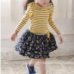 กระโปรงเด็กหญิงสีน้ำเงิน รูปหัวใจสีเหลือง PinkIdeal