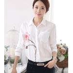 Pre-order เสื้อเชิ้ตแขนยาว เสื้อทำงานแขนยาว สีขาวพิมพ์ลายกุหลาบ แฟชั่นสไตล์เกาหลีปี 2015