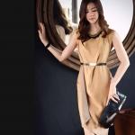 Pre-Order ชุดเดรส ผ้าโพลีเอสเตอร์ สีทอง ชุดออกงานหรูหรา แฟชั่นสไตล์เกาหลี ปี 2014 ไซส์ใหญ่