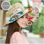 Pre-order หมวกปีกกว้างแฟชั่นฤดูร้อน กันแดด กันแสงยูวี สวยหวานเรียบหรู ดูดี สีครีมดอกแดง