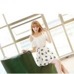 2015 ฤดูร้อนเกาหลี ใหม่ Sciascia เดรส 2ชิ้น เสื้อ เปิดไหล่สีขาว+กระโปรง ผ้าชีฟองสีขาว พิมพ์ลายดอก สีดำ สวยน่ารักมากค่ะ