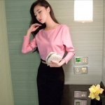 Pre-order ชุดเดรสกระโปรงยาว เอวสูงสีดำ เสื้อแขนยาวสีชมพู แฟชั่นเกาหลีมาใหม่ปี 2015